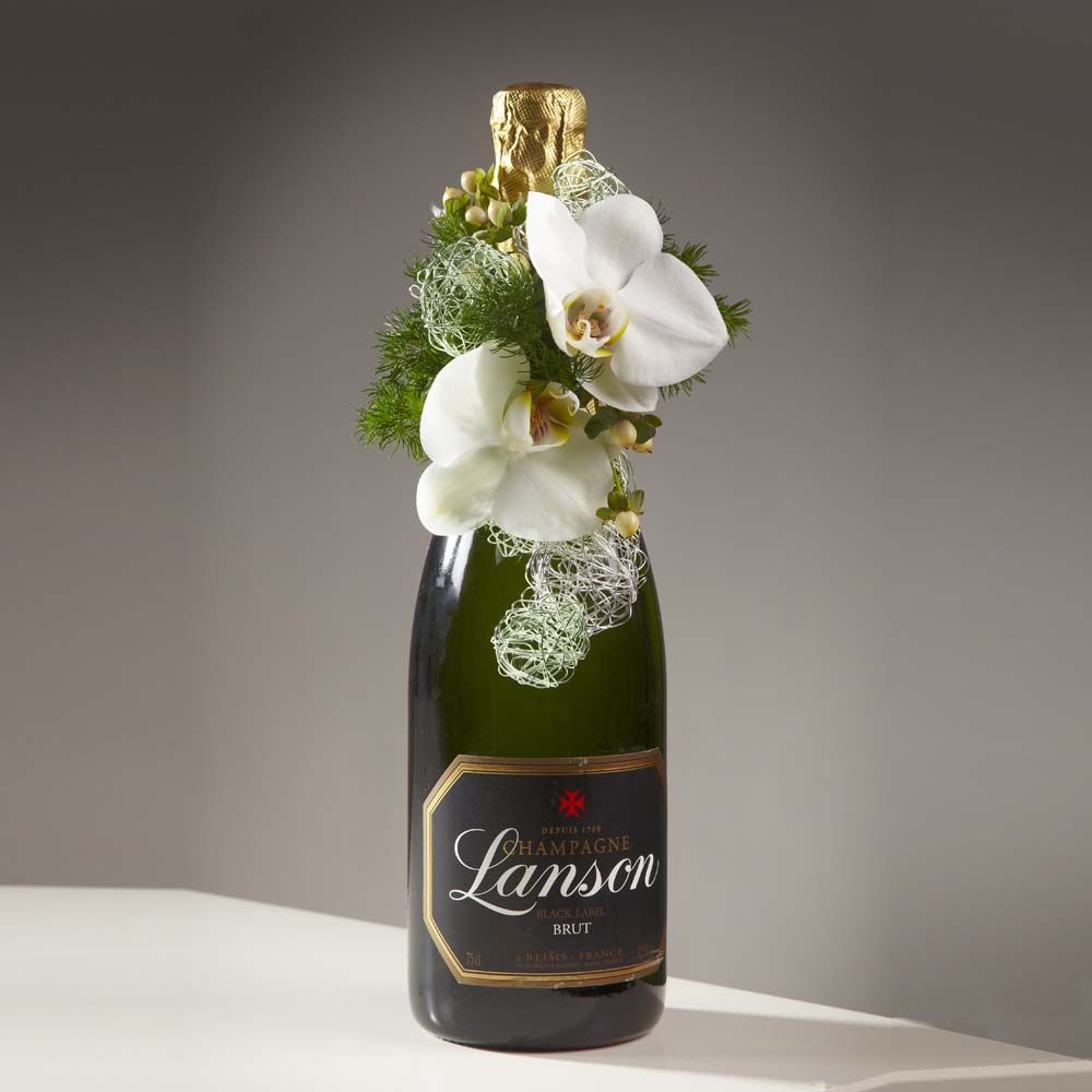 Flower Arrangements In Wine Bottles: Champagne Bottle Decoration Using An OASIS® Mini Deco