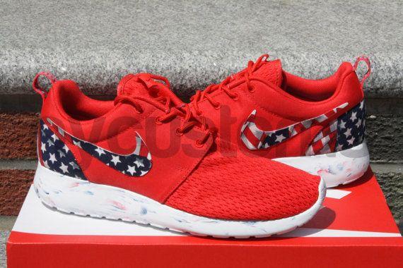 880145cd9eb8 Free Shipping Nike Roshe Run Black Marble American Flag Pride