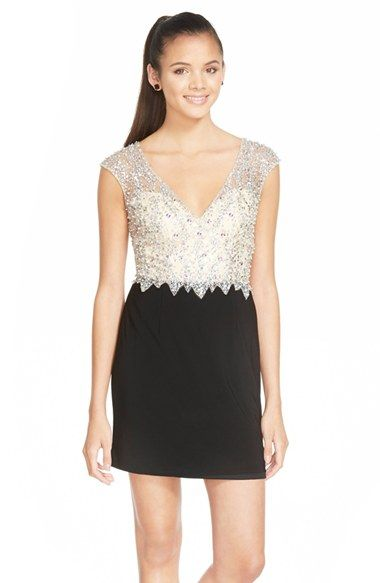 Sean Collection Embellished Mesh & Jersey Minidress available at #Nordstrom