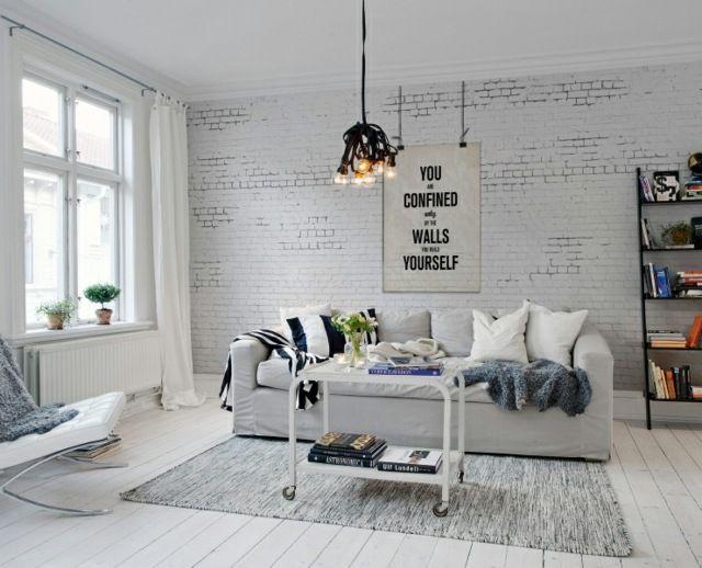 salon design avec du papier peint imitant la brique. Black Bedroom Furniture Sets. Home Design Ideas