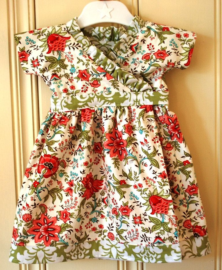 82af0a3e5f11 Sweet girls wrap dress in vintage style print and lovely green damask  accent fabric.  42.50