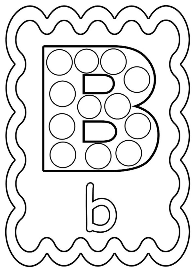 Coloriage lettre b colorier ou gommettes gommettes - L alphabet en francais a imprimer ...