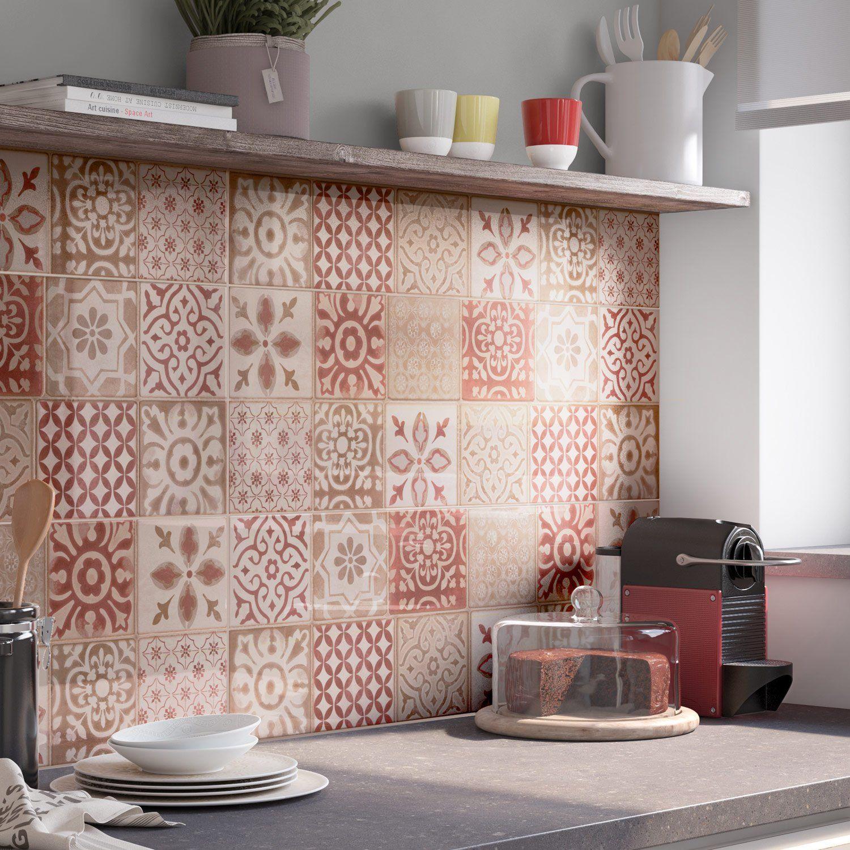 Decor Mur Forte Rouge Mat L 25 X L 76 Cm Haussmann Carrelage Credence Cuisine Murs Rouges Rouge Mat