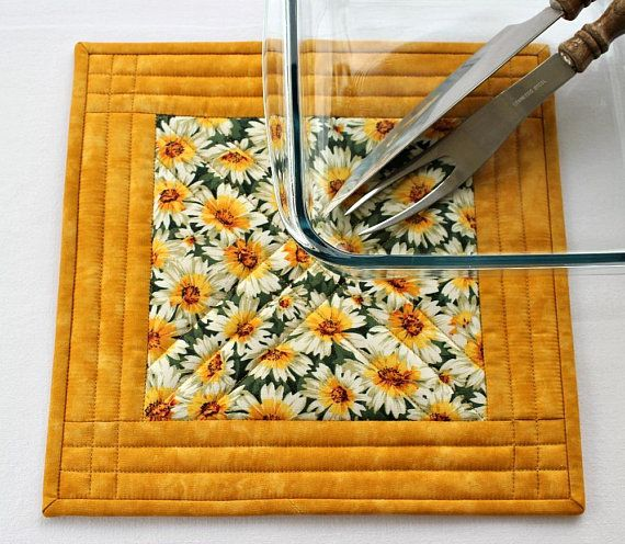 Daisy Kitchen Decor: Quilted Trivet, Yellow Daisies, Insulated Hot Pad, Floral