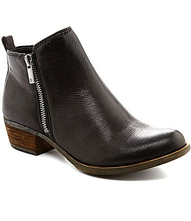 cf265b91fc526 Lucky Brand Basel Smooth Leather Zip Block Heel Booties