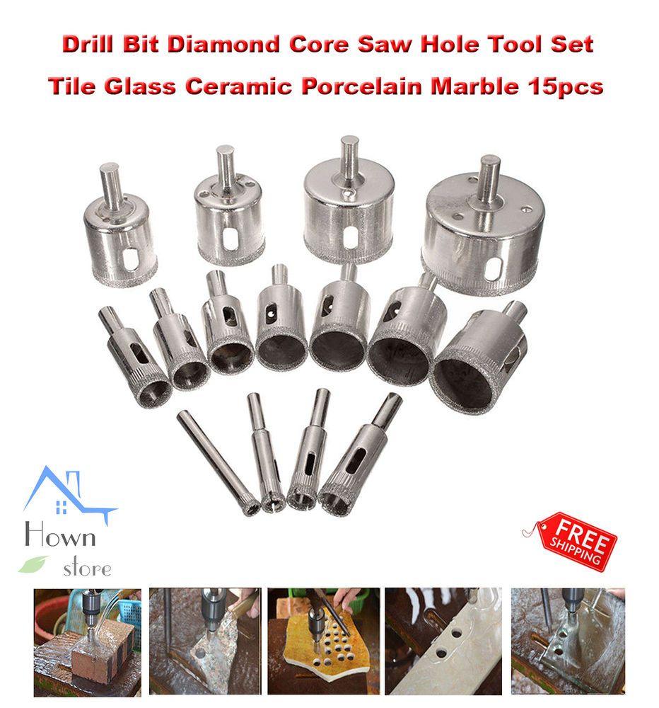 Drill Bit Diamond Core Saw Hole Tool Set Tile Glass Ceramic Porcelain Marble 15p Drillpro Glass Ceramic Glass Tile Tool Set