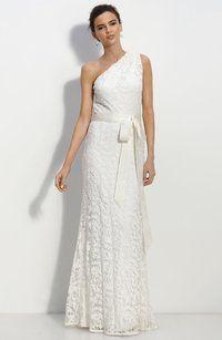 Tadashi Shoji Lace One Shoulder Gown Wedding Dress