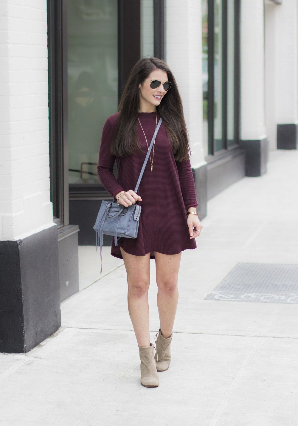 Casual Weekend Outfit for Fall, Leith Stretch Ponte Long Vest, Vans Charlie  Dress,