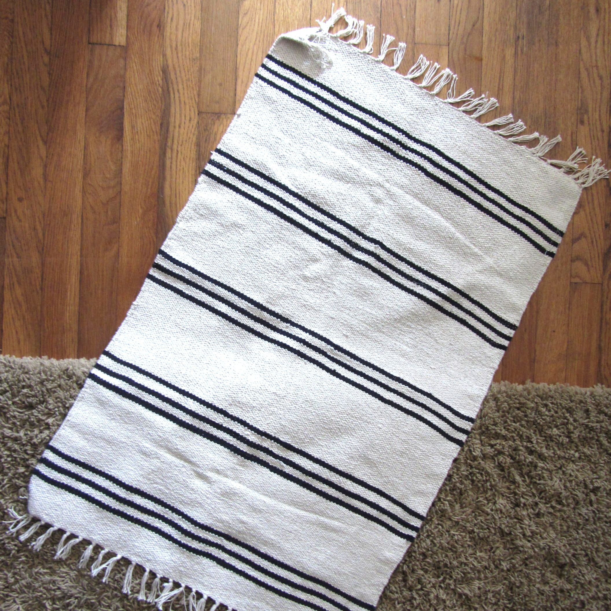 Ikea Stockholm Rug Flatwoven Black Handmade Striped Off White Ikea Signe Rug Soft-sided Storage Bin | For The Home