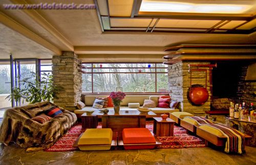 Stock Photography By Spencer Grant Living Room Interior Of Fallingwater Designed By Architect