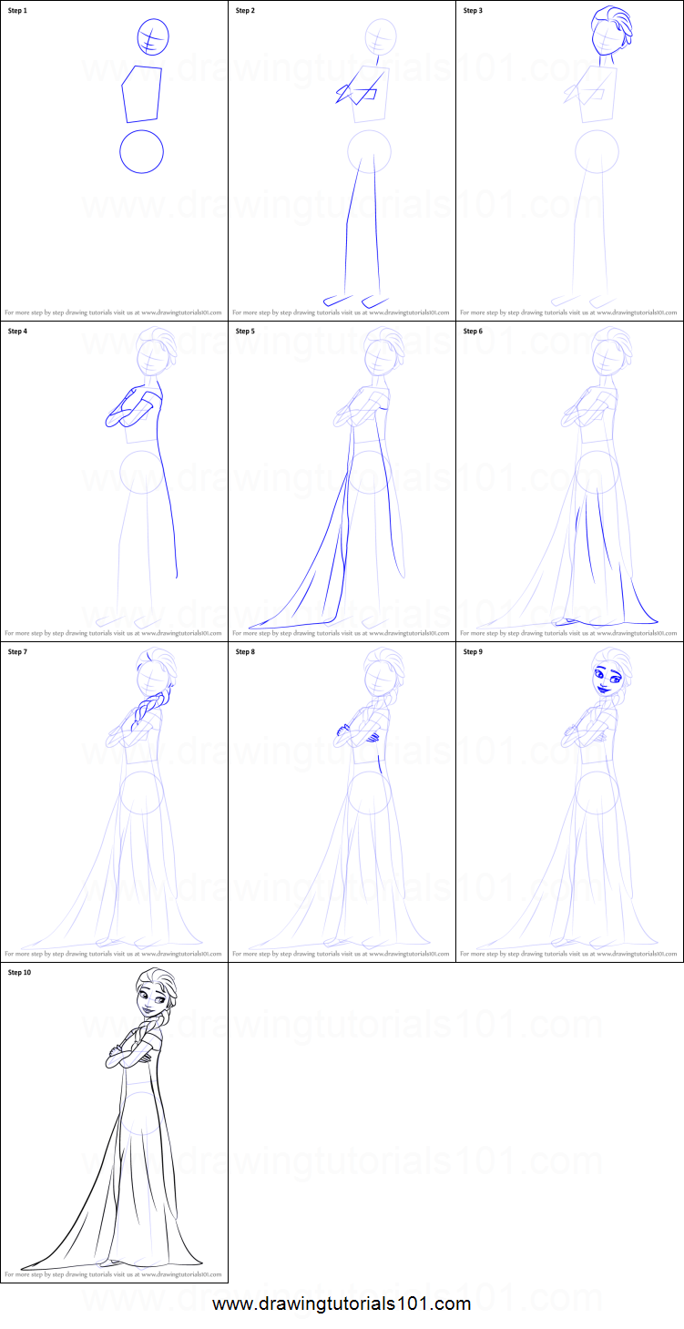 How To Draw Elsa From Frozen Fever Printable Step By Step Drawing Sheet Drawingtutorials101 Co How To Draw Elsa Disney Drawing Tutorial Drawing Tutorial Easy