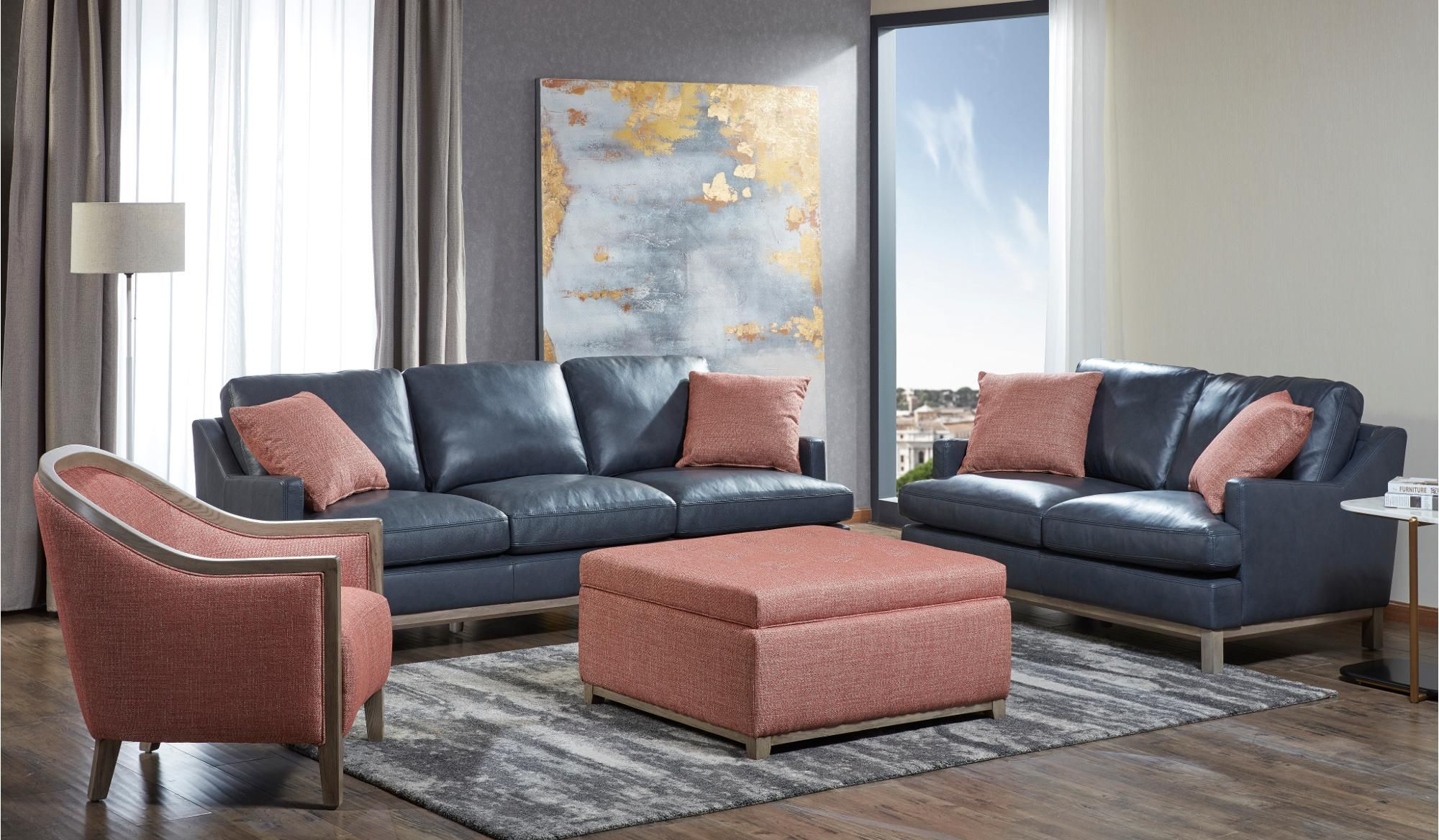 The Classic Tailored Look Of The Westport Lining Room Group Is Sure To Add A Charming Sophisticated Vibe To Your Hom Blue Leather Sofa Furniture Leather Sofa