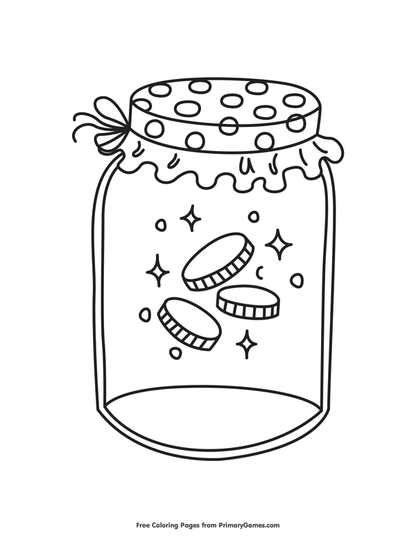 St. Patrick\'s Day Coloring Pages eBook: Gold Coins in a Jar | Gold ...