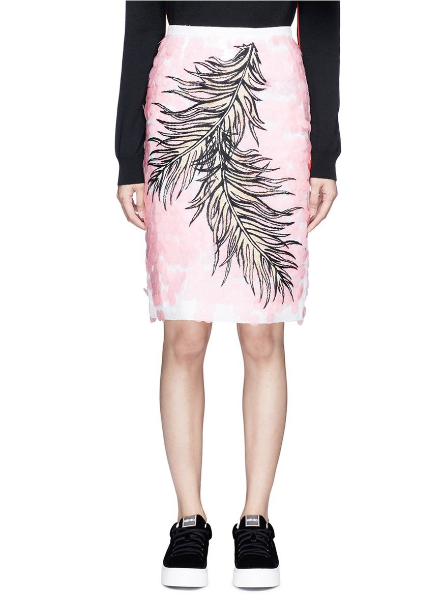 EMILIO PUCCI Sequin Leaf Embroidery Lace Pencil Skirt. #emiliopucci #cloth #skirt