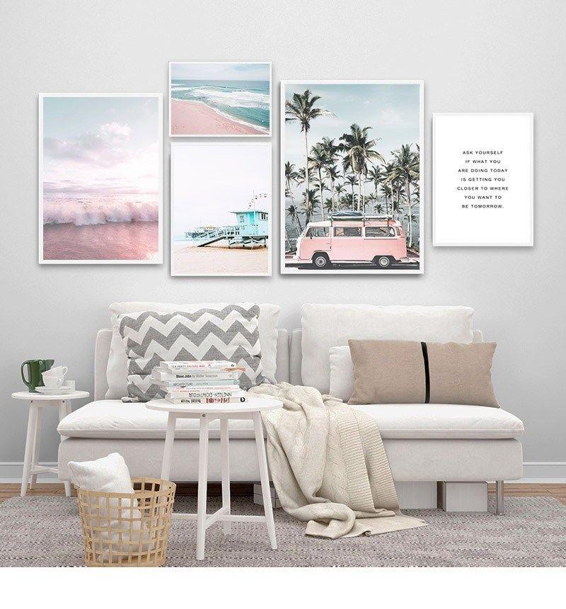 Pink Beach Canvas Wall Art Collection Beach Canvas Wall Art