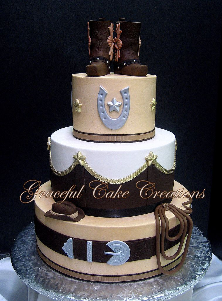 Elegant Western Themed Wedding Cake With Cowboy Boot Cake Topper