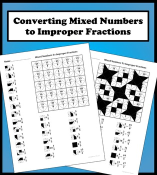 Converting Mixed Numbers To Improper Fractions Color Worksheet In 2021 Improper Fractions Mixed Numbers Fractions