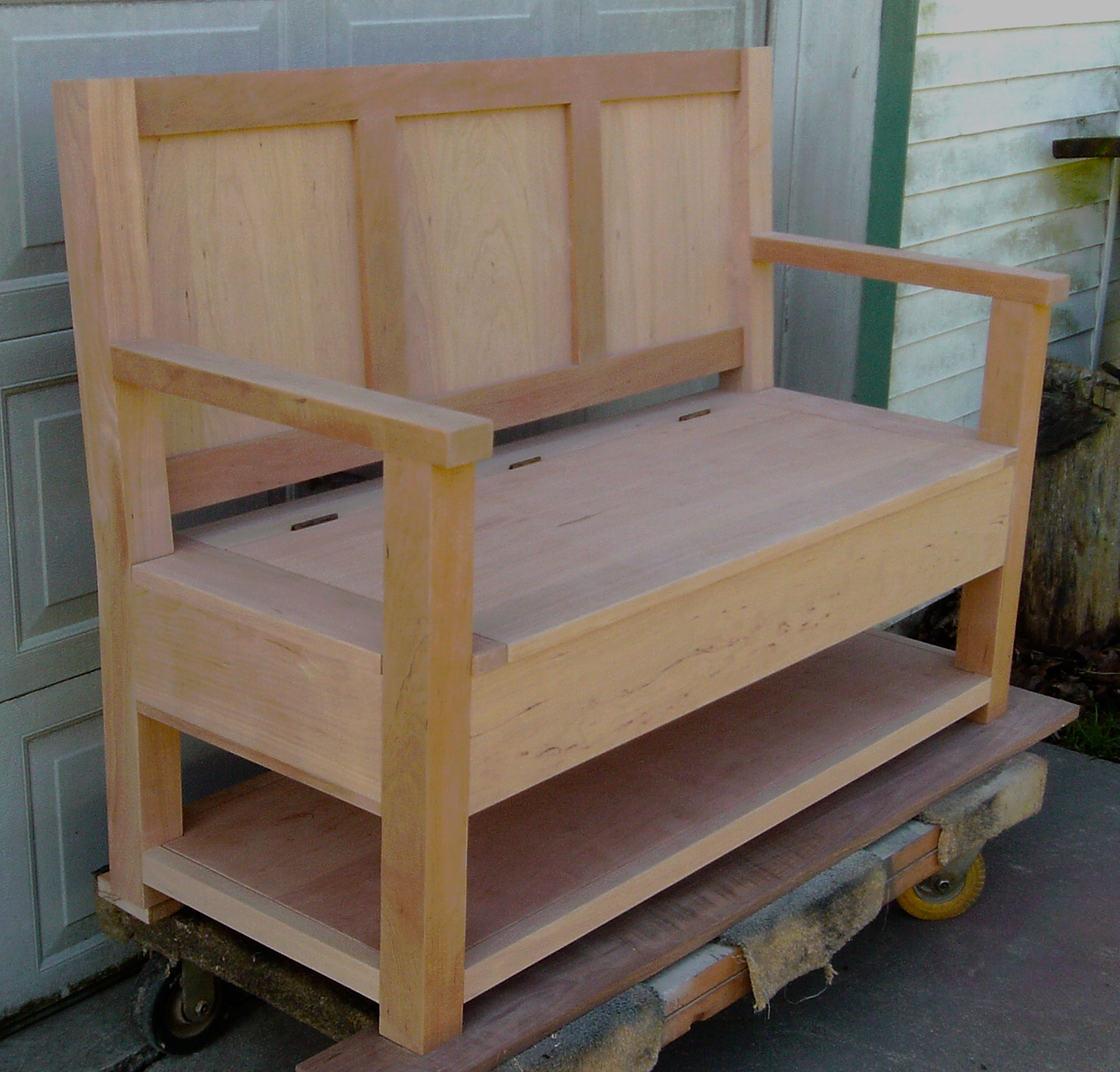 Custom Entry Bench with lift lid and built in cherry. Finishing was ...