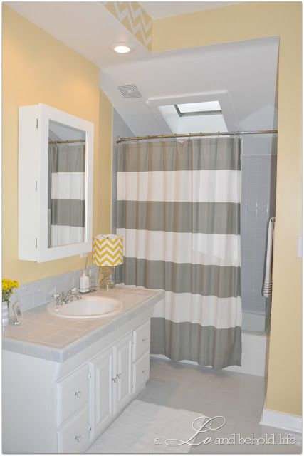 Home Tour Reveal Part 2 Yellow Bathroom Decor Yellow Bathrooms Bathroom Colors Gray
