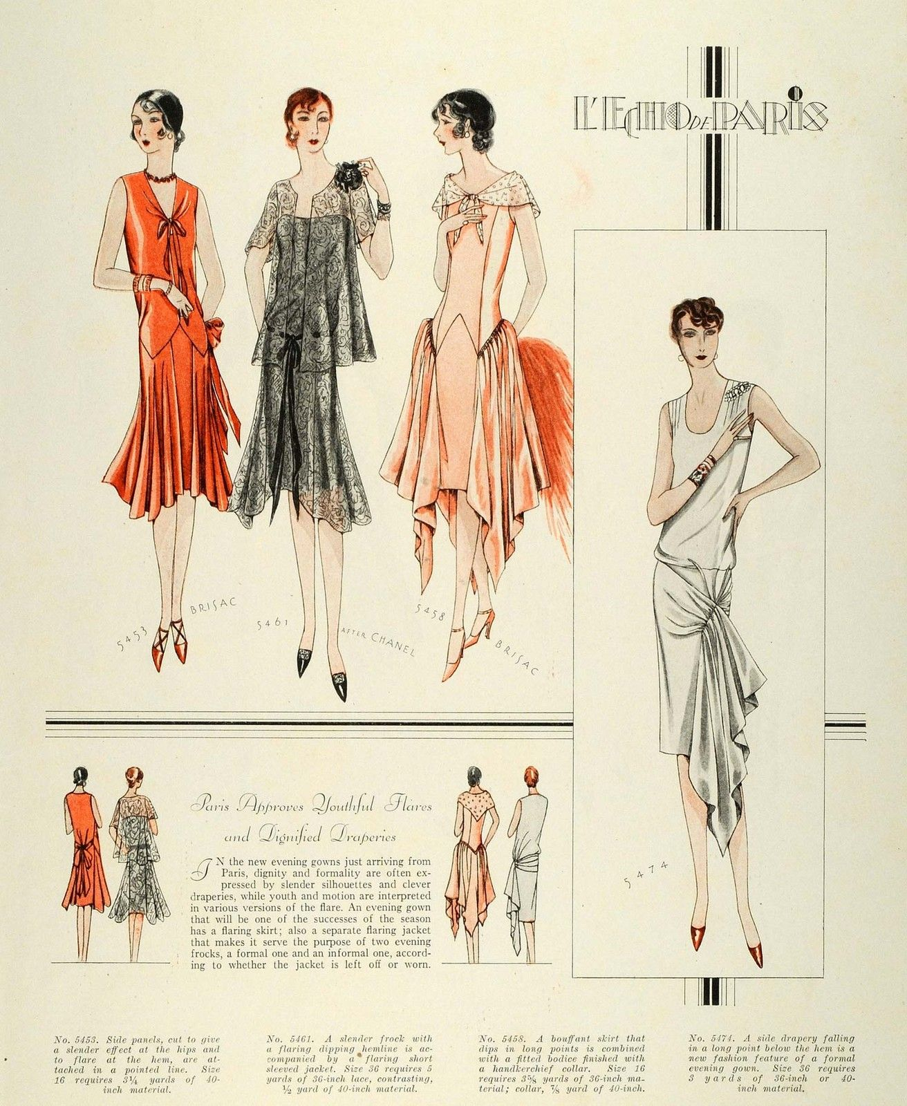 1928 Print McCalls Paris Flapper Dressmaking Patterns Frocks Hats ...