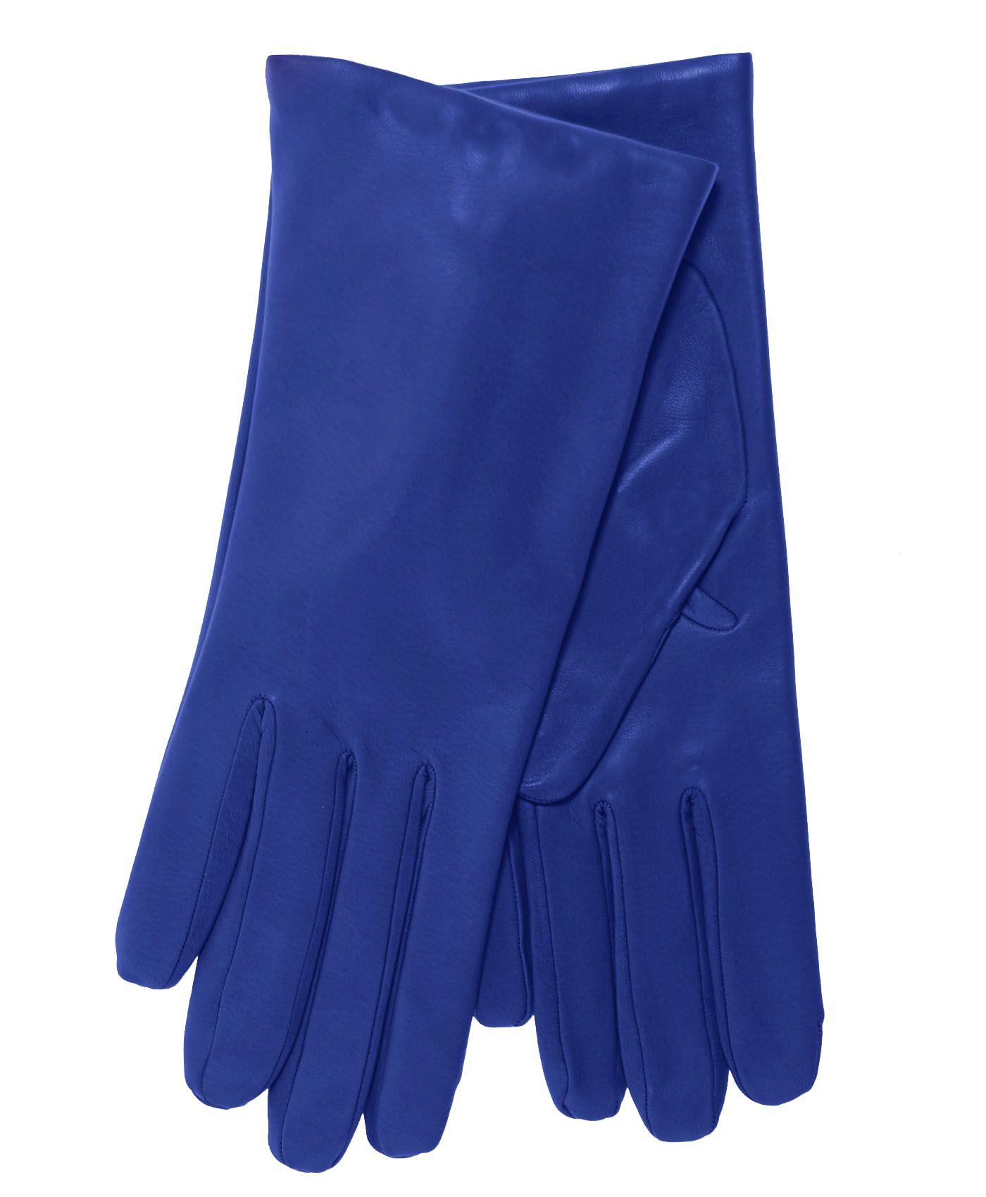 Women's Italian Cashmere Lined Lambskin Leather Gloves Blue