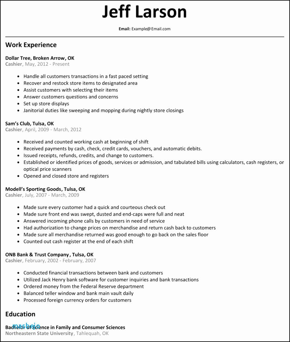 67 Beautiful Gallery Of Sample Resume Of Cashier Supervisor Check