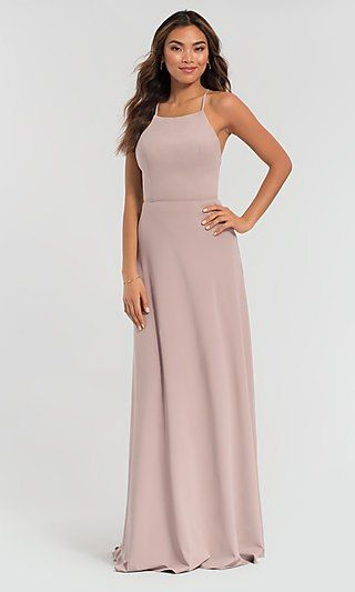 72488cb115 Strappy-Open-Back Long Kleinfeld Bridesmaid Dress