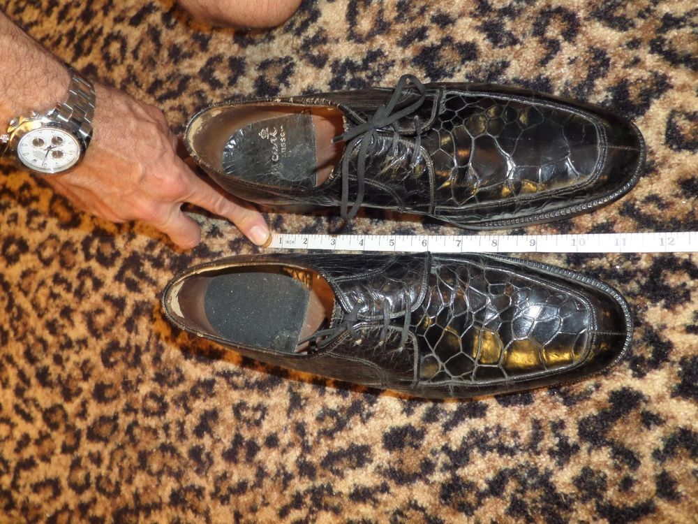 VINTAGE Black Mens Genuine TURTLE Skin Shoes Rare Old Custom Collectible Trashed #Unknown #Oxfords