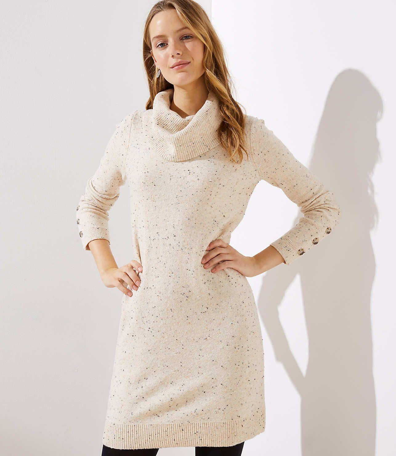 Button Cuff Cowl Neck Sweater Dress  7eb4cf65a