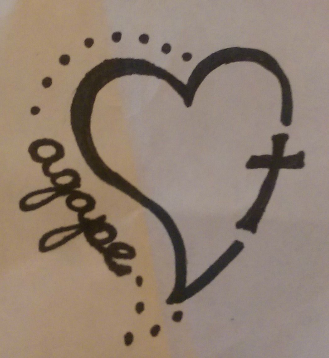 My own tattoo design very small about 15 2 total agape is agape is the greek word for the unconditional love of god and the cross represents jesus completing my heart the pinner mom buycottarizona Choice Image