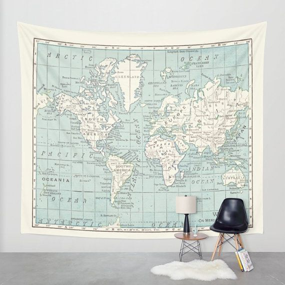 World Map Wall Tapestry World Map Wall Tapestry   vintage map, dorm room decor, Blue and
