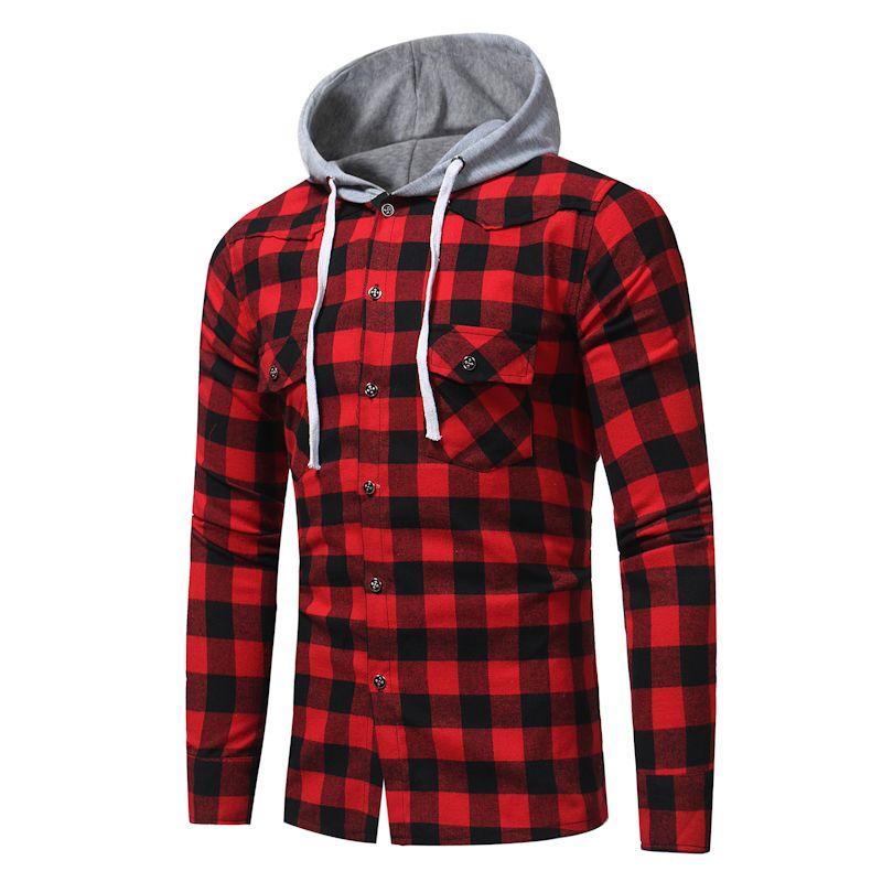 Marca 2018 Moda Masculina Camisa Longa-Mangas Tops Moda Camisa Xadrez Com  Capuz de Algodão Casual Mens Camisas de Vestido Magros Dos Homens camisa 08fd6d535c0