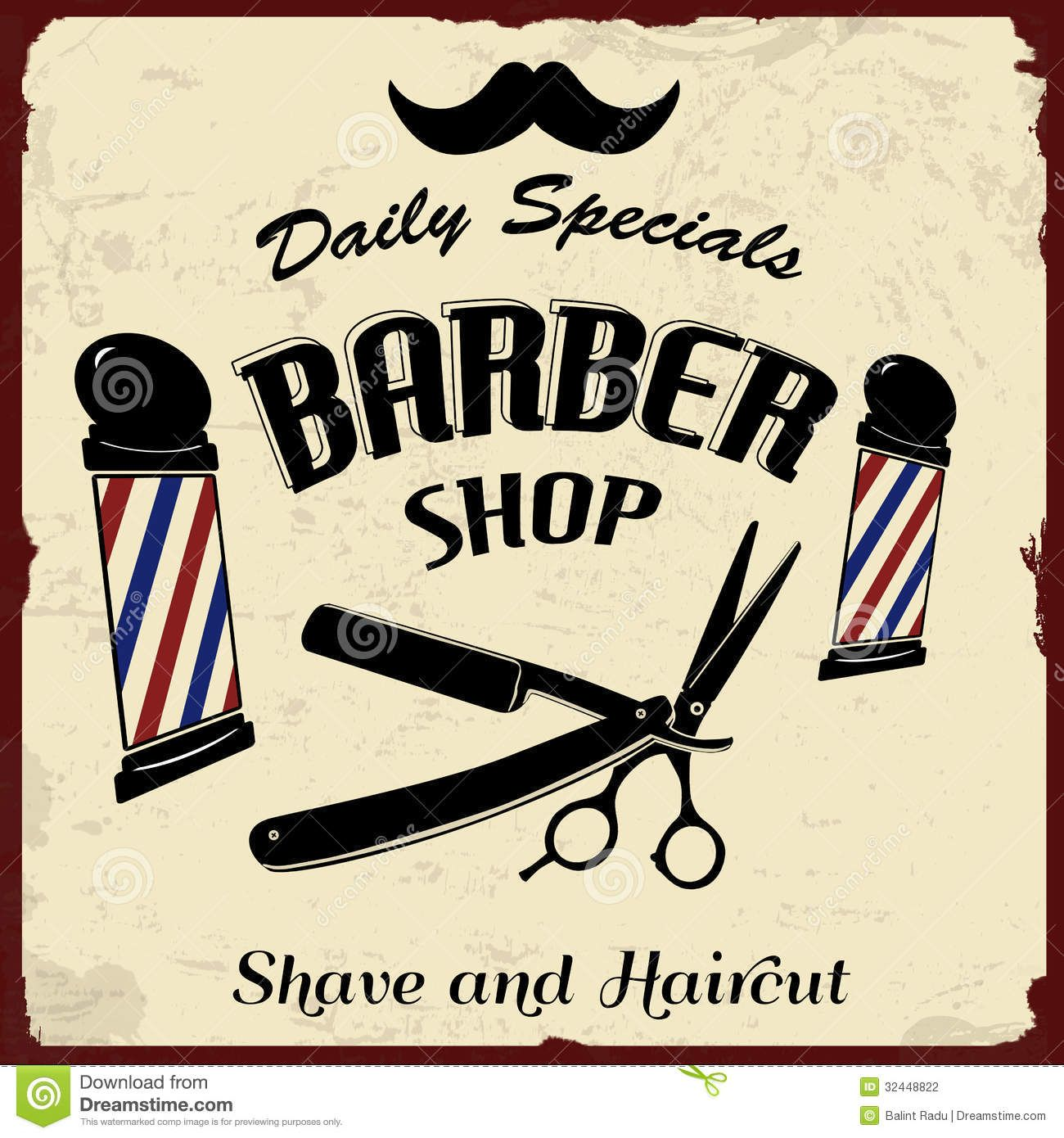 Antique barber shop sign - Vintage Styled Barber Shop Stock Photography Image 32448822