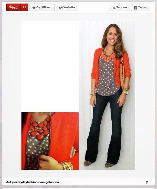 Outfit mit Korallroter Strickjacke