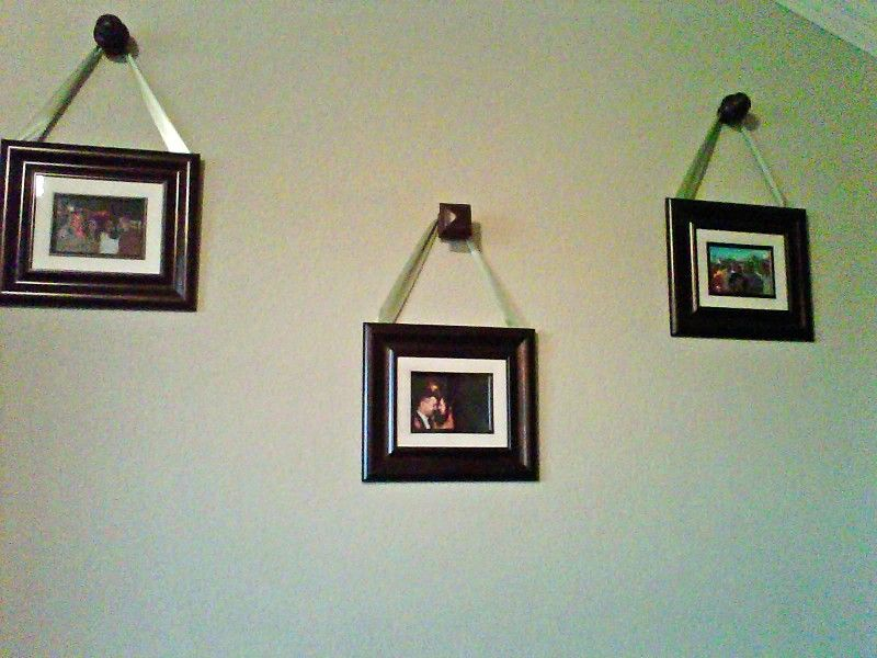 Just Use Wooden Curtain Rod Finials From Lowes As Picture Hangers