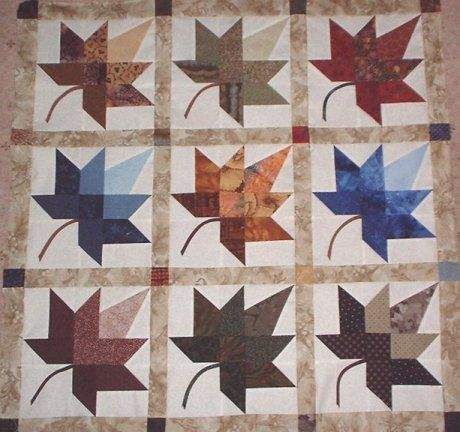 Autumn Leaf Quilt, from a template by Roy and Wendy Bland - the basic leaf square Fall quilts ...