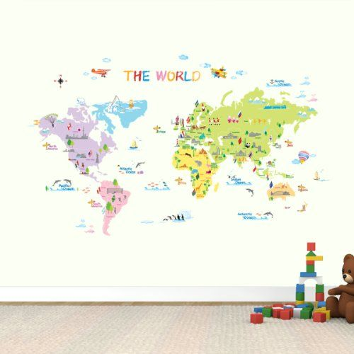 World Map Wall Stickers Kids Decals Transfers Tattoos Homepage The - World wall map kids