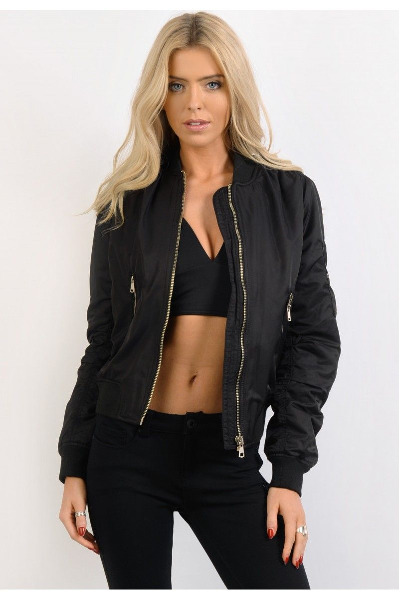black-padded-bomber-jacket-womens | Bomber Jacket | Pinterest