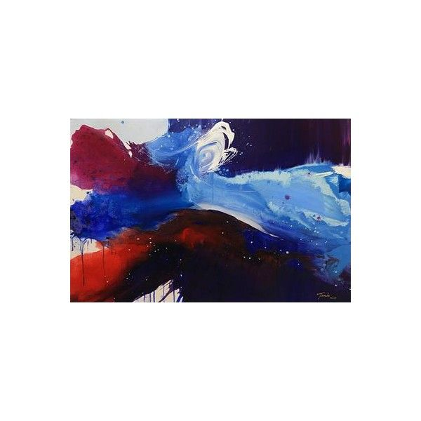 NOVICA Original Javanese Abstract Painting of the Ocean ($615) ❤ liked on Polyvore featuring home, home decor, wall art, art, abstract paintings, blue, paintings, ocean wave paintings, blue wall art and novica
