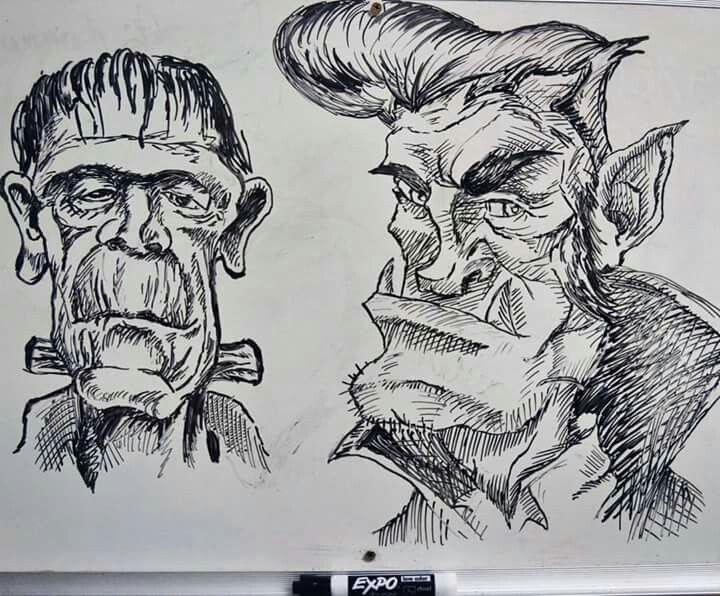 Expo marker drawing Haloween Dracula and frankenstein | Expo