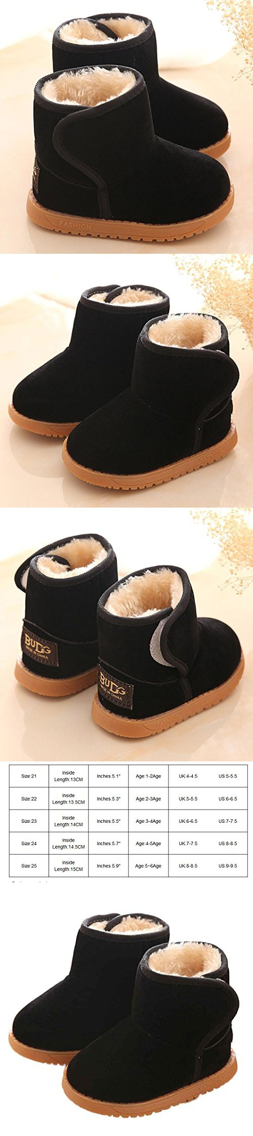 f936381fed06 Voberry Baby Toddler Kids Children Girls Boys Winter Warm Boot Fur Lined  Outdoor Snow Boots (1-2Age