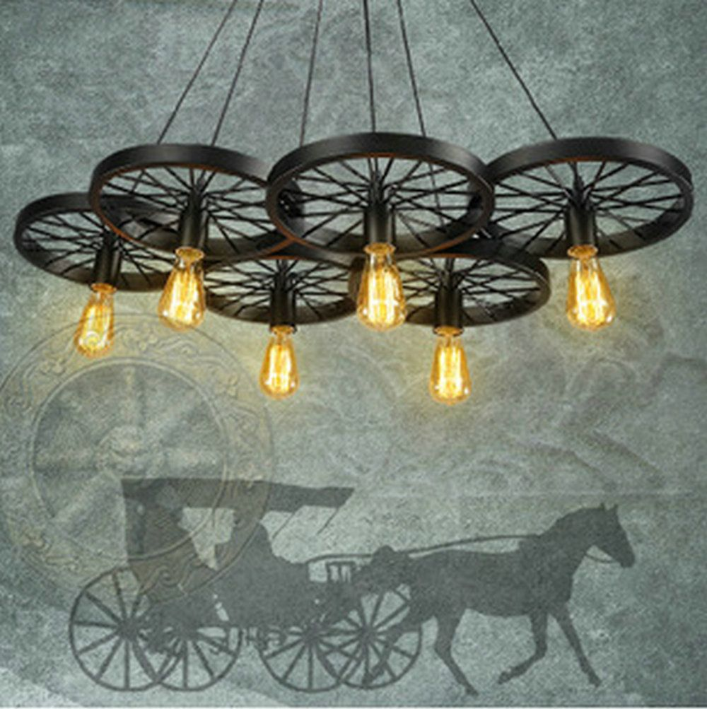 Vintage Loft Personality Wrought Iron Wheel Pendant Light Industrial Retro  Edison Bulb Decorative Pendant Lamp Fixture