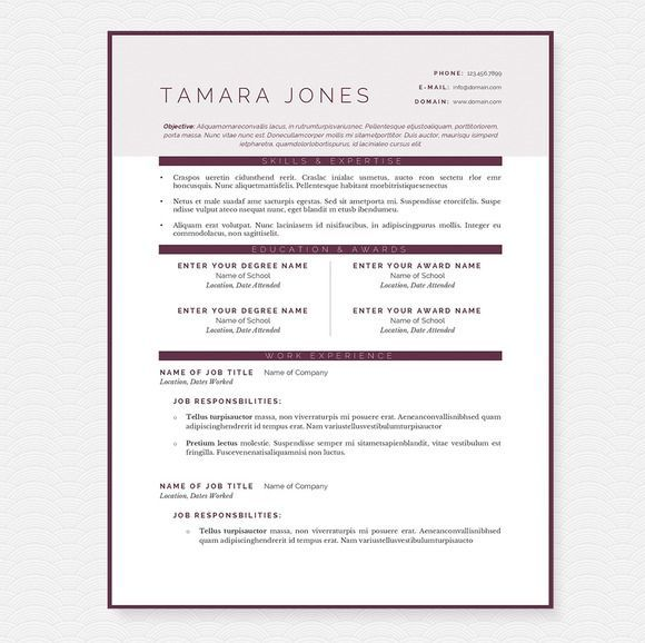 cool Plum Resume Template Package Templates Pinterest Template