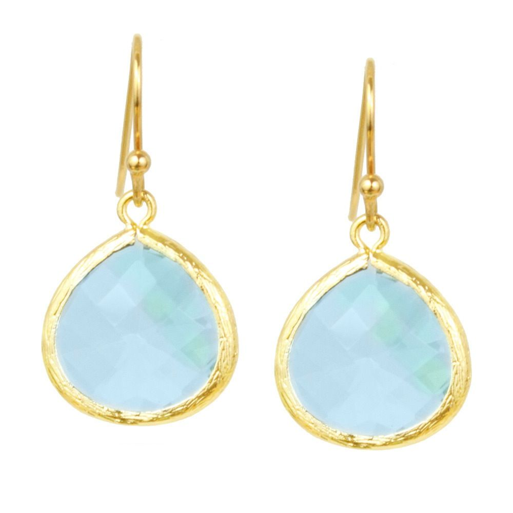 Aquamarine Crystal Drop Earrings In Gold