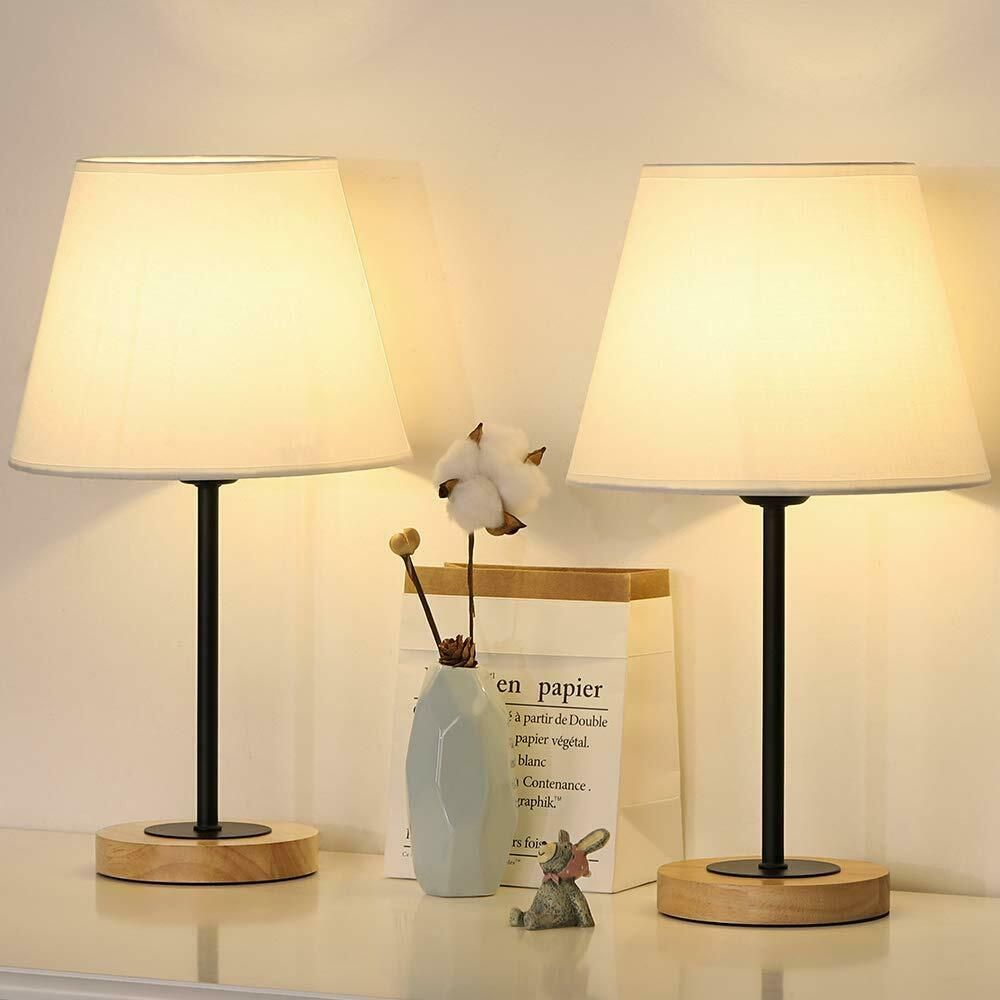 Small Table Lamps Set Of 2 Bedside Desk Lamps For Bedroom Wood
