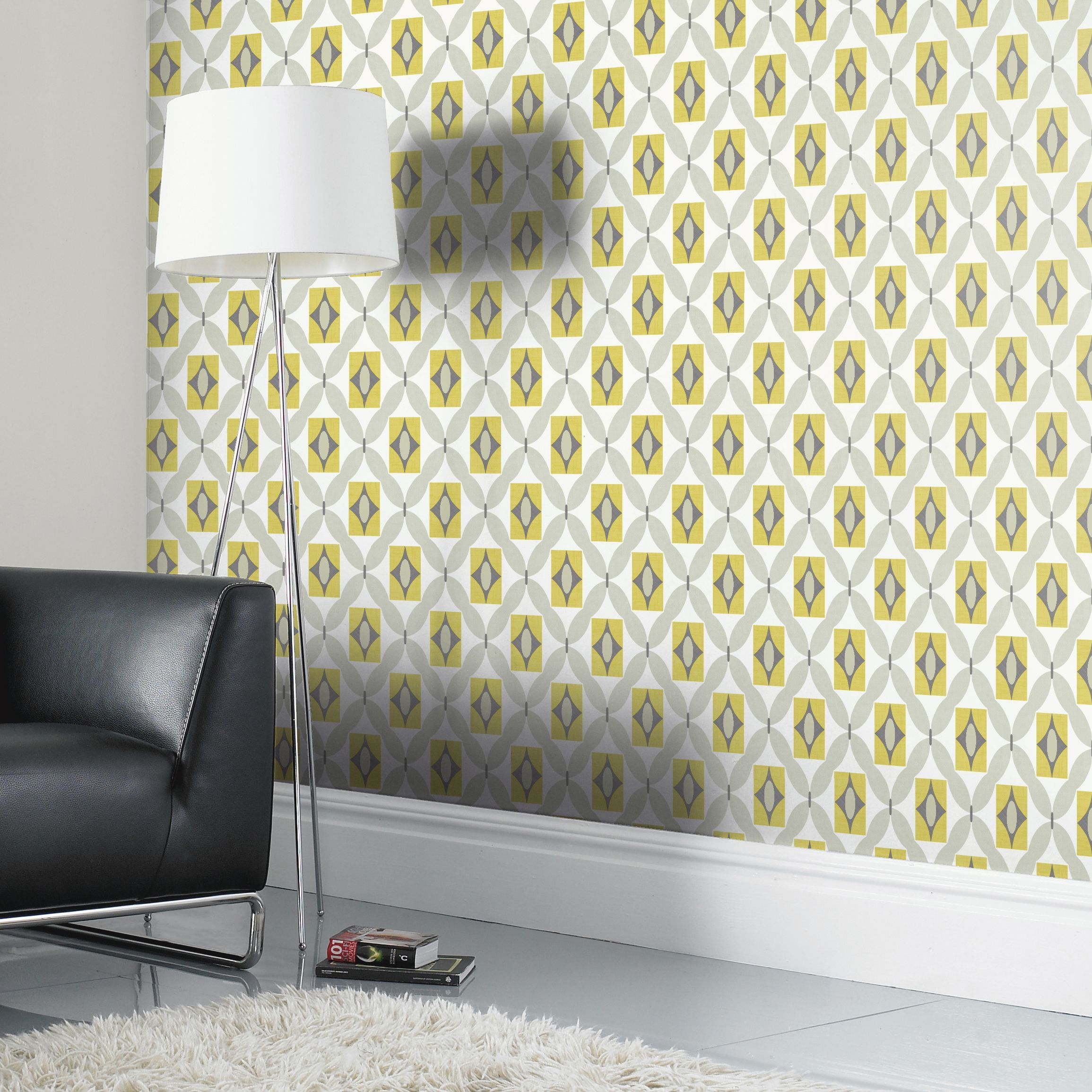 Colours Orsino Yellow Wallpaper Departments Diy At
