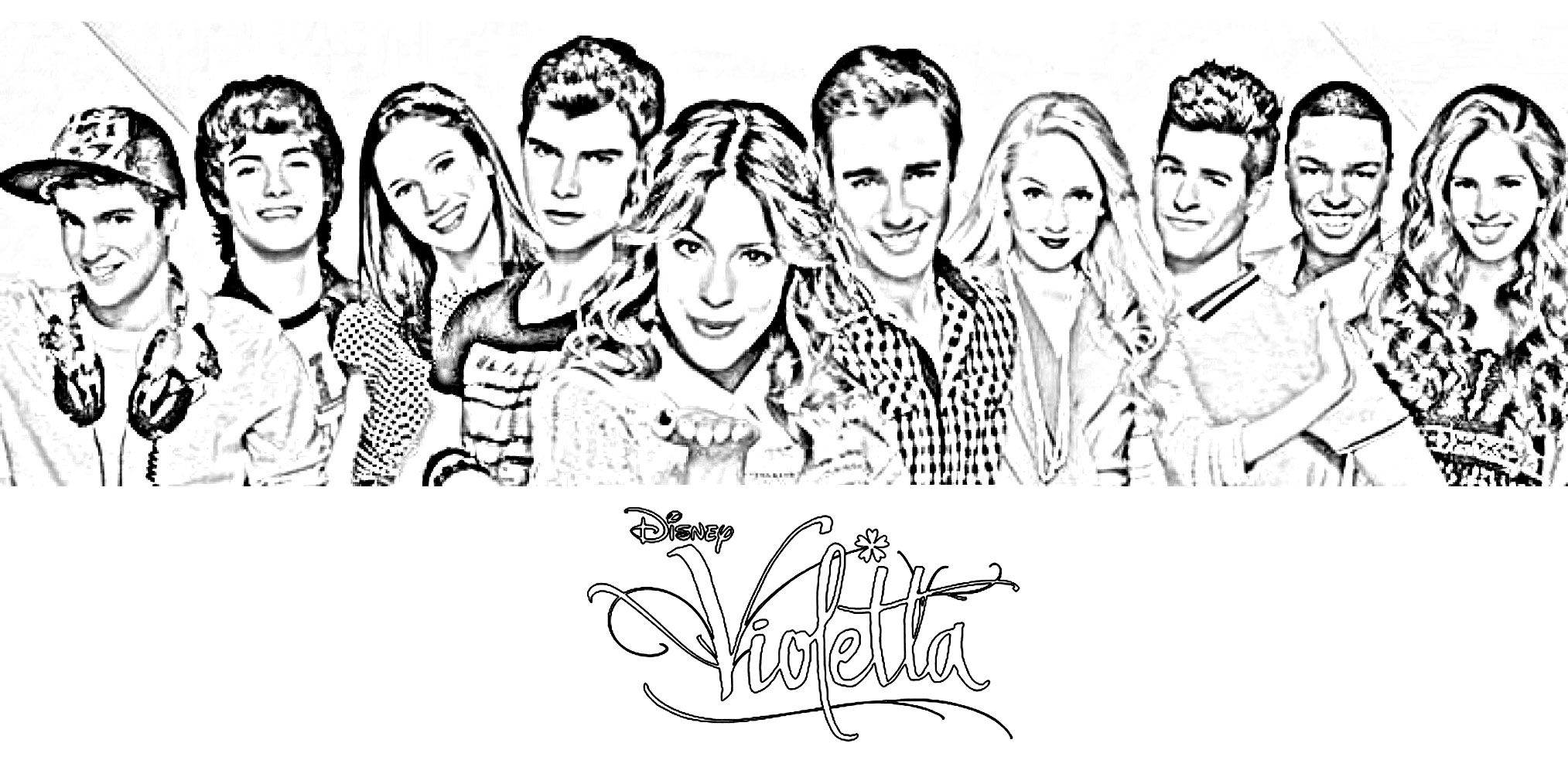 Printable coloring pages violetta - Printable Violetta Together With Her Friends Coloring Page Violetta Enjoys Spending Time Having Around Her Friends Tomas Leon Francesca And Many More