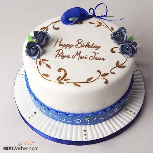 The Name Priya Meri Jaan Is Generated On Simple Birthday Cake With