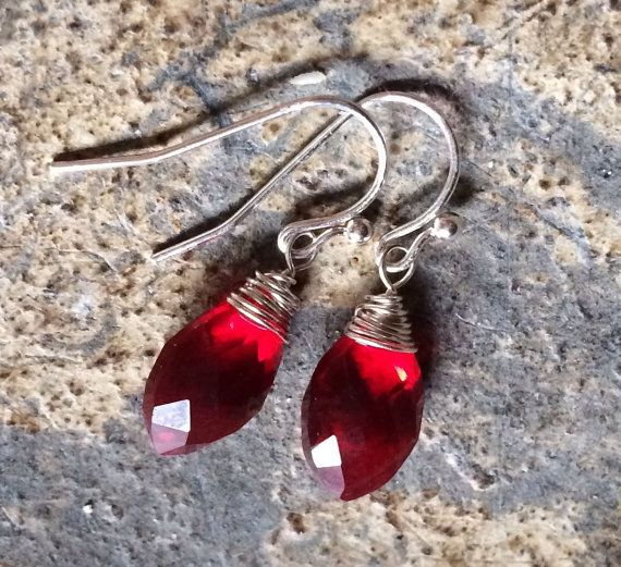 Ruby Red Quartz Marquise Briolette and Silver Wrap by MinFavoritMN