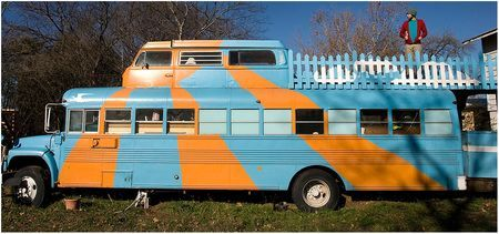 complete with a sun deck and a wood stove former washington rh pinterest com Old Trailways Bus Philadelphia Eagles Bus